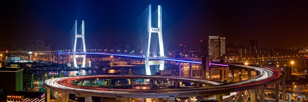 Nanpu Bridge at night