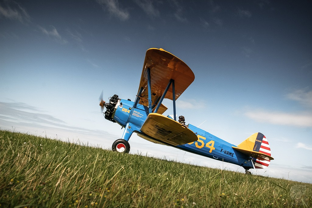 Stearman on grass