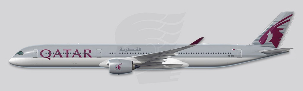 A350 Profile Illustration - Qatar Airways -1000