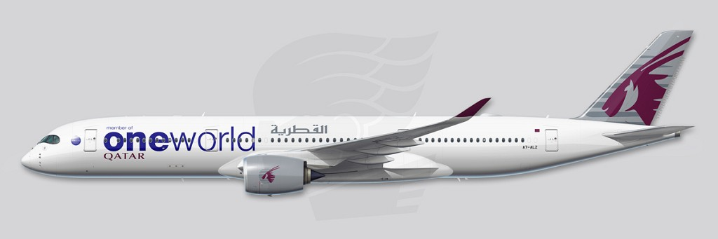 A350 Profile Illustration - Qatar Oneworld